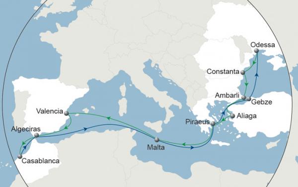 Le Black Sea Marmara Morocco (BSMAR) sera connecté au reste du monde via son hub de Malte. Hebdomadaire, il reliera la mer Noire, la Turquie, le Maroc et l'Espagne. Crédit photo CMA CGM